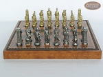 picture of Brass Roman Chessmen with Patterned Italian Leatherette Chess Board with Storage [Brown] (4 of 9)