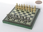 picture of Brass Roman Chessmen with Patterned Italian Leatherette Chess Board with Storage [Green] (2 of 9)