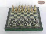picture of Brass Roman Chessmen with Patterned Italian Leatherette Chess Board with Storage [Green] (3 of 9)