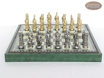 picture of Brass Roman Chessmen with Patterned Italian Leatherette Chess Board with Storage [Green] (4 of 9)