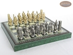 picture of Brass Roman Chessmen with Patterned Italian Leatherette Chess Board with Storage [Green] (5 of 9)