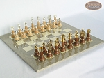 picture of The Grand Chessmen II with Large Spanish Lacquered Chess Board [Grey] (1 of 7)