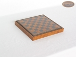 picture of Italian Brass/Silver Staunton Chessmen with Patterned Italian Leatherette Chess Board with Storage [Small] (6 of 7)