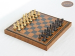 Mini Classic Staunton Rosewood and Maple Chessmen with Patterned Italian Leatherette Chess Board with Storage [Brown] - Item: 660