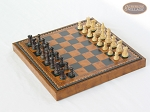 picture of Mini Classic Staunton Rosewood and Maple Chessmen with Patterned Italian Leatherette Chess Board with Storage [Brown] (2 of 6)