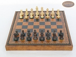 picture of Mini Classic Staunton Rosewood and Maple Chessmen with Patterned Italian Leatherette Chess Board with Storage [Brown] (3 of 6)