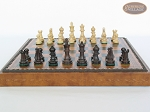 picture of Mini Classic Staunton Rosewood and Maple Chessmen with Patterned Italian Leatherette Chess Board with Storage [Brown] (4 of 6)