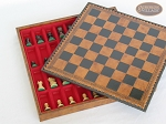 picture of Mini Classic Staunton Rosewood and Maple Chessmen with Patterned Italian Leatherette Chess Board with Storage [Brown] (5 of 6)