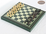 Mini Classic Staunton Rosewood and Maple Chessmen with Patterned Italian Leatherette Chess Board with Storage [Green] - Item: 661
