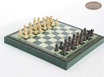picture of Mini Classic Staunton Rosewood and Maple Chessmen with Patterned Italian Leatherette Chess Board with Storage [Green] (2 of 6)