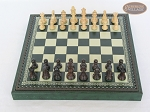 picture of Mini Classic Staunton Rosewood and Maple Chessmen with Patterned Italian Leatherette Chess Board with Storage [Green] (3 of 6)