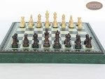 picture of Mini Classic Staunton Rosewood and Maple Chessmen with Patterned Italian Leatherette Chess Board with Storage [Green] (4 of 6)