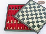 Mini Classic Staunton Rosewood and Maple Chessmen with Patterned Italian Leatherette Chess Board with Storage [Green]