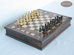 Mini Classic Staunton Rosewood and Maple Chessmen with Large Italian Chess Board with Storage - Item: 659