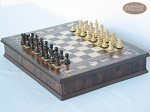 picture of Mini Classic Staunton Rosewood and Maple Chessmen with Large Italian Chess Board with Storage (2 of 6)