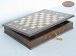 Mini Classic Staunton Rosewood and Maple Chessmen with Large Italian Chess Board with Storage