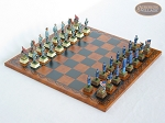 American Civil War Chessmen with Patterned Italian Leatherette Chess Board - Item: 682