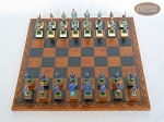 picture of American Civil War Chessmen with Patterned Italian Leatherette Chess Board (3 of 6)