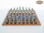 picture of American Civil War Chessmen with Patterned Italian Leatherette Chess Board (4 of 6)
