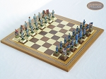 American Civil War Chessmen with Spanish Mosaic Chess Board - Item: 680