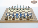 American Civil War Chessmen with Spanish Mosaic Chess Board