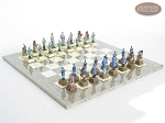American Civil War Chessmen with Spanish Lacquered Board [Grey] - Item: 677