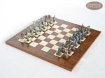 American Civil War Chessmen with Italian Lacquered Chess Board [Wood] - Item: 689