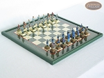American Civil War Chessmen with Italian Lacquered Board [Green] - Item: 686