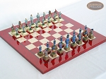 American Civil War Chessmen with Italian Lacquered Chess Board [Red] - Item: 690