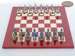 picture of American Civil War Chessmen with Italian Lacquered Chess Board [Red] (3 of 6)