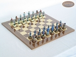 American Civil War Chessmen with Spanish Lacquered Board [Wood] - Item: 679