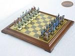 American Civil War Chessmen with Italian Brass Chess Board [Raised] - Item: 688