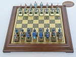 American Civil War Chessmen with Italian Brass Chess Board [Raised]