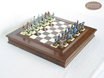 American Civil War Chessmen with Italian Alabaster Chess Board with Storage - Item: 687