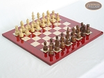 Exclusive Staunton Maple Chessmen with Italian Lacquered Chess Board [Red] - Item: 653