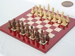 picture of Exclusive Staunton Maple Chessmen with Italian Lacquered Chess Board [Red] (2 of 5)