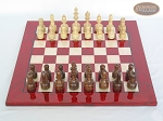 picture of Exclusive Staunton Maple Chessmen with Italian Lacquered Chess Board [Red] (3 of 5)
