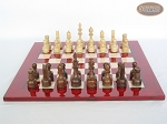 picture of Exclusive Staunton Maple Chessmen with Italian Lacquered Chess Board [Red] (4 of 5)