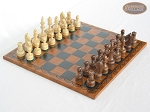 Exclusive Staunton Maple Chessmen with Patterned Italian Leatherette Chess Board - Item: 649