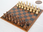 picture of Exclusive Staunton Maple Chessmen with Patterned Italian Leatherette Chess Board (2 of 5)