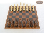 picture of Exclusive Staunton Maple Chessmen with Patterned Italian Leatherette Chess Board (3 of 5)
