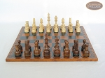 picture of Exclusive Staunton Maple Chessmen with Patterned Italian Leatherette Chess Board (4 of 5)