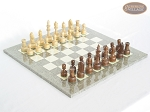 Exclusive Staunton Maple Chessmen with Spanish Lacquered Chess Board [Grey] - Item: 646