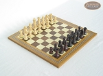Professional Staunton Maple Chessmen with Spanish Mosaic Chess Board - Item: 667