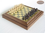 Professional Staunton Maple Chessmen with Italian Brass Chess Board with Storage - Item: 668