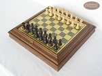 picture of Professional Staunton Maple Chessmen with Italian Brass Chess Board with Storage (2 of 7)