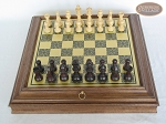picture of Professional Staunton Maple Chessmen with Italian Brass Chess Board with Storage (3 of 7)