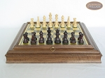 picture of Professional Staunton Maple Chessmen with Italian Brass Chess Board with Storage (4 of 7)