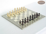 Professional Staunton Maple Chessmen with Spanish Lacquered Chess Board [Grey] - Item: 664