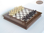 Professional Staunton Maple Chessmen with Italian Alabaster Chess Board with Storage - Item: 673